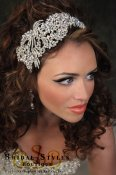 CC121-Asymmetrical leaf and swirl Swarovski Crystal encrusted headband