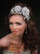 CC132-Asymmetrical elaborate headband made with large and small crystal encrusted roses and leaves