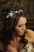 HB121-Headband of swirls,flowers and leaves encrusted with Swarovski crystals